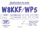 Harry T. Flasher, W8KKF, Desecheo QSL